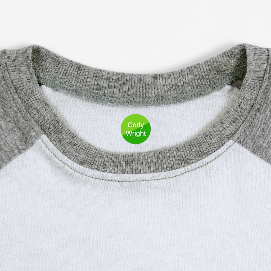 personalized kids iron-on labels - _Split_Green / Circle