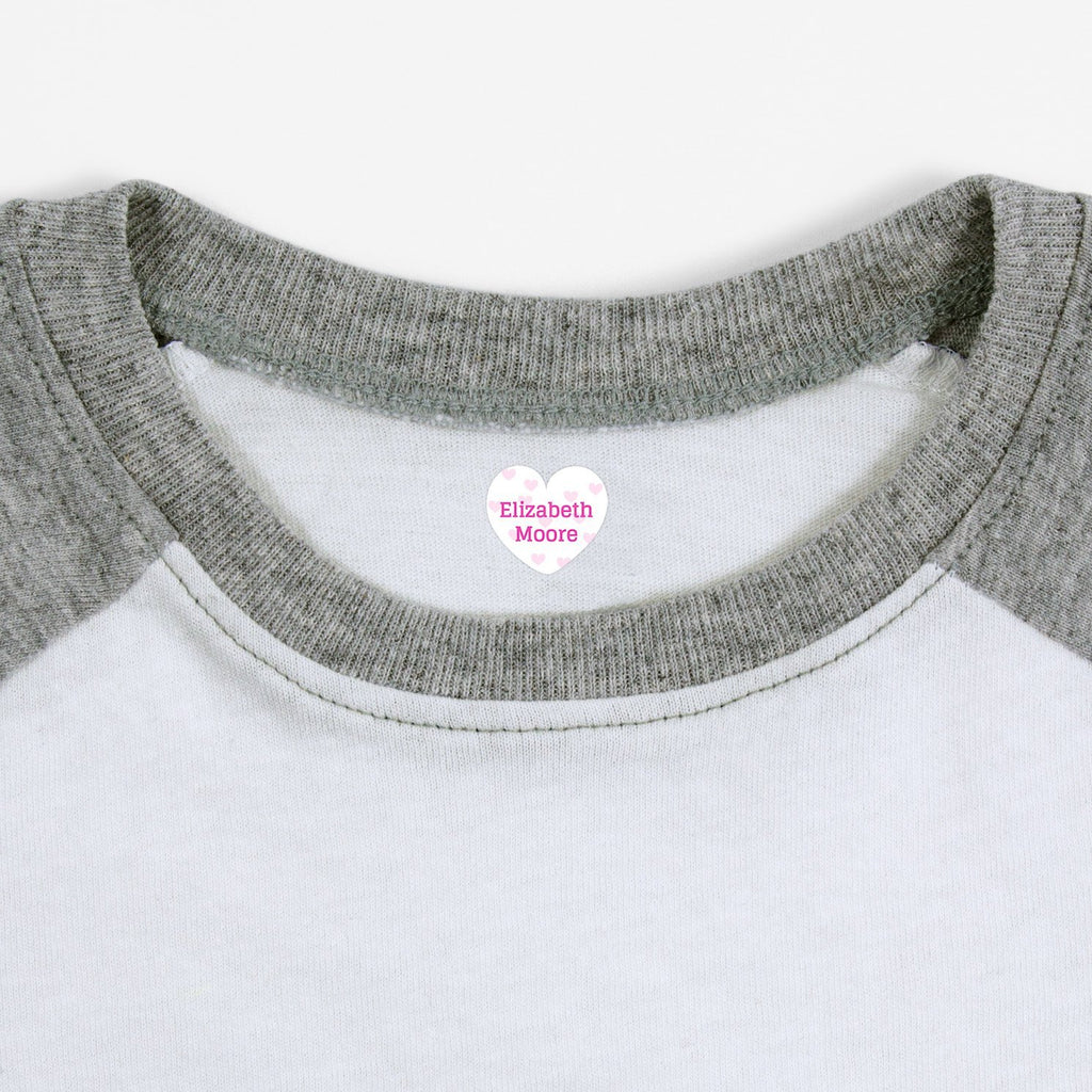 personalized iron on name labels - White with Light Pink Hearts / Heart