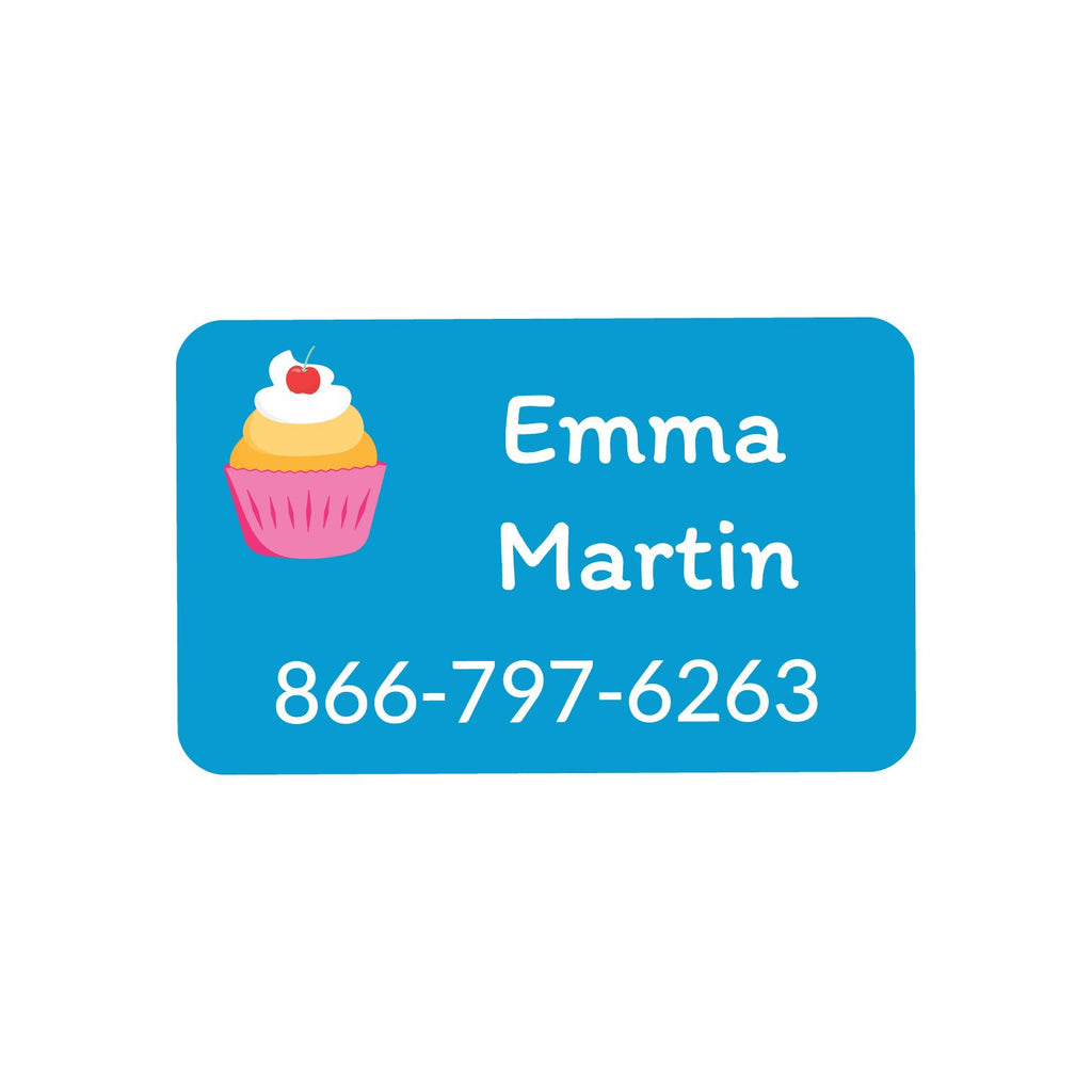 laundry safe iron on labels with a trio of cupcakes on blue background design