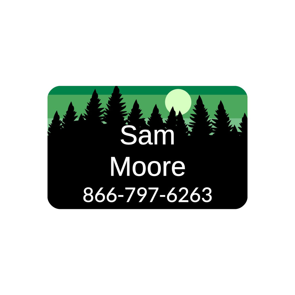 iron-on labels for kids with forest silhouette and sky design