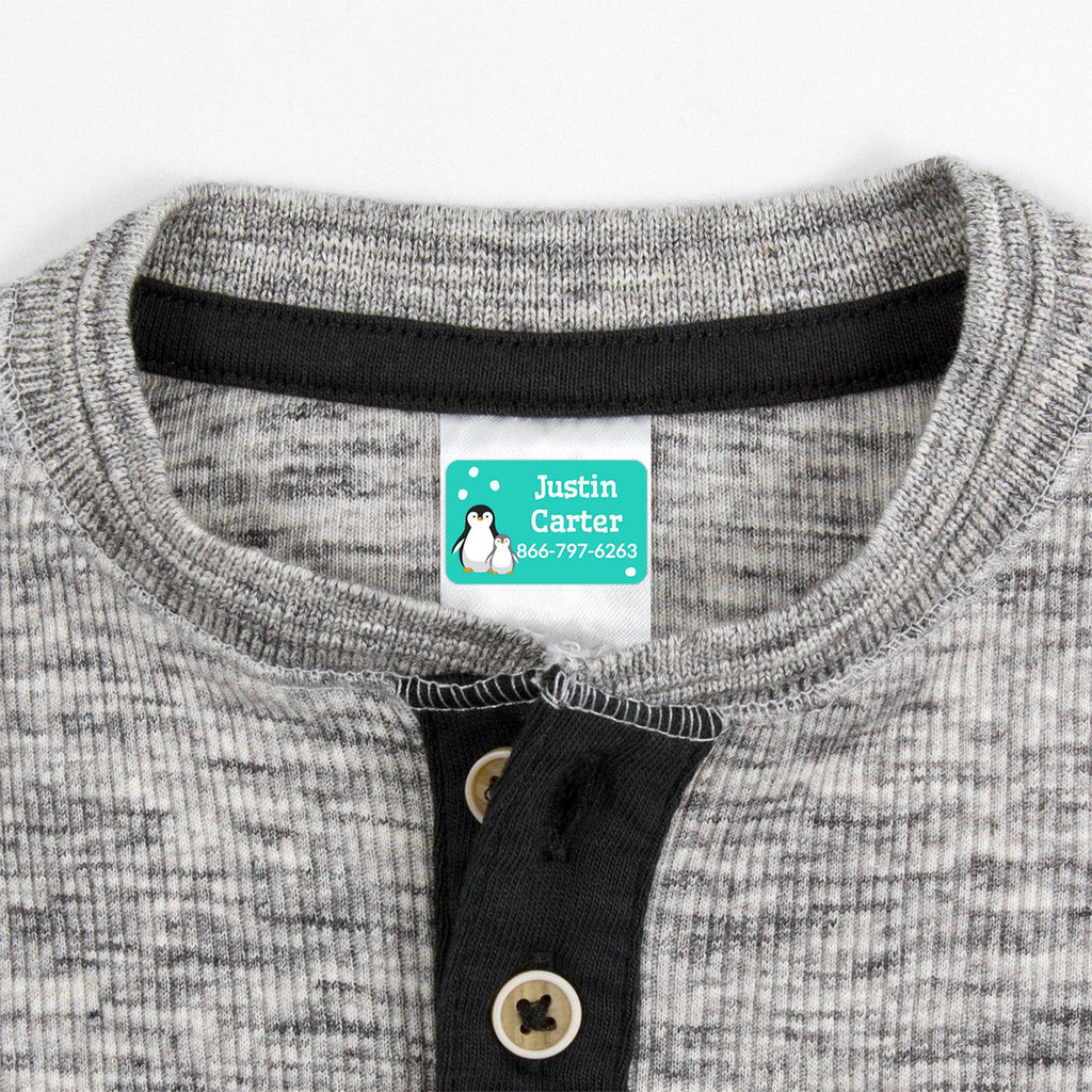 contact clothing labels with a pair of penguins - _Penguins_Aqua
