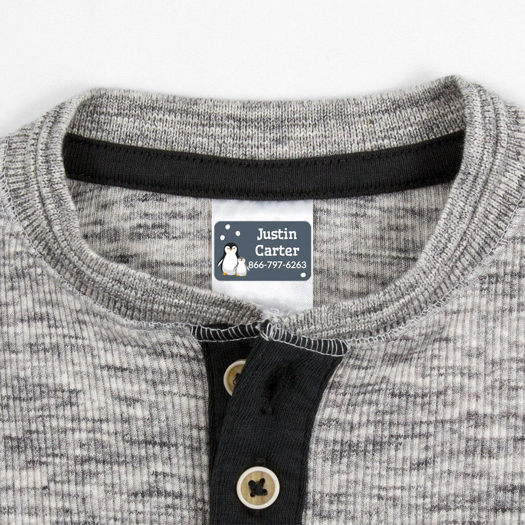 contact clothing labels with a pair of penguins - _Penguins_Blue Gray