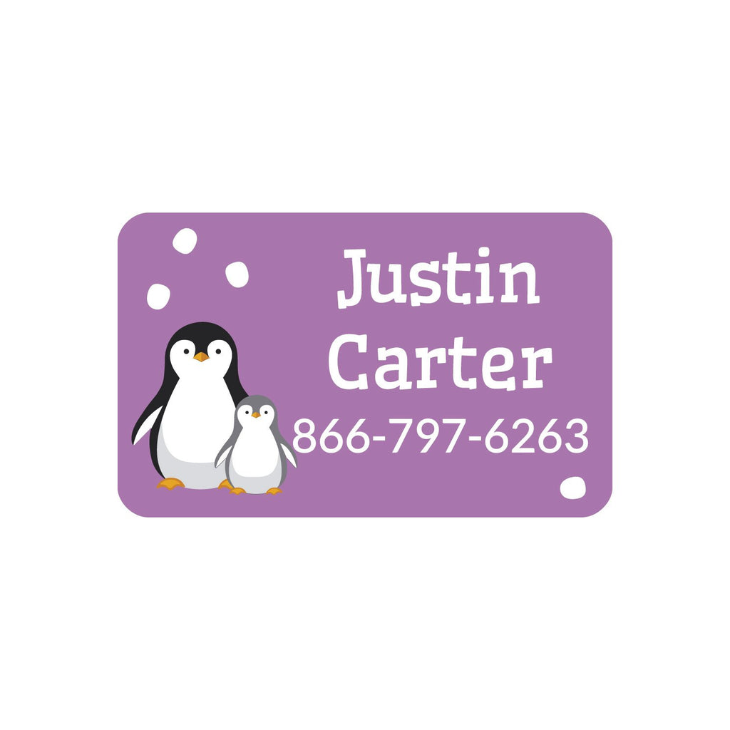 contact clothing labels with a pair of penguins