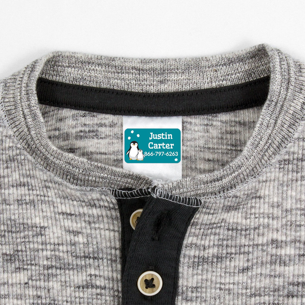 contact clothing labels with a pair of penguins - _Penguins_Teal