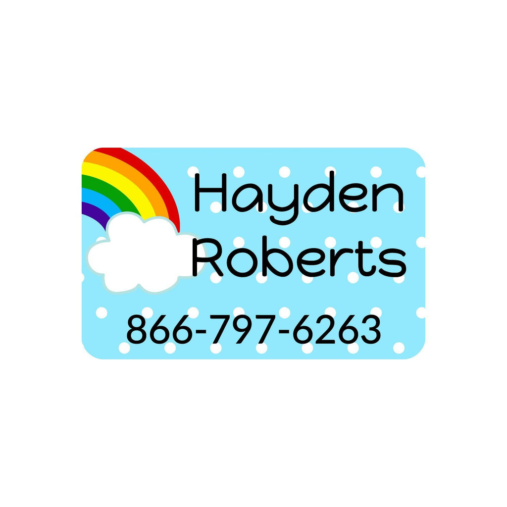 personalized iron-on rainbow labels