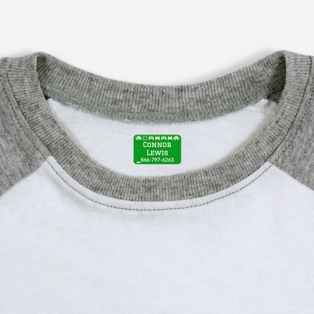 iron on name tags for children's clothes - Shamrock / Rectangle