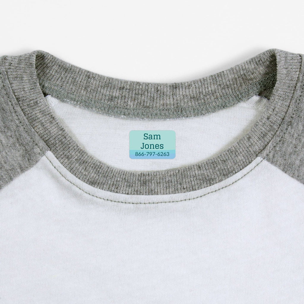 iron on name tags for children's clothes - _Ombre_Blue / Rectangle