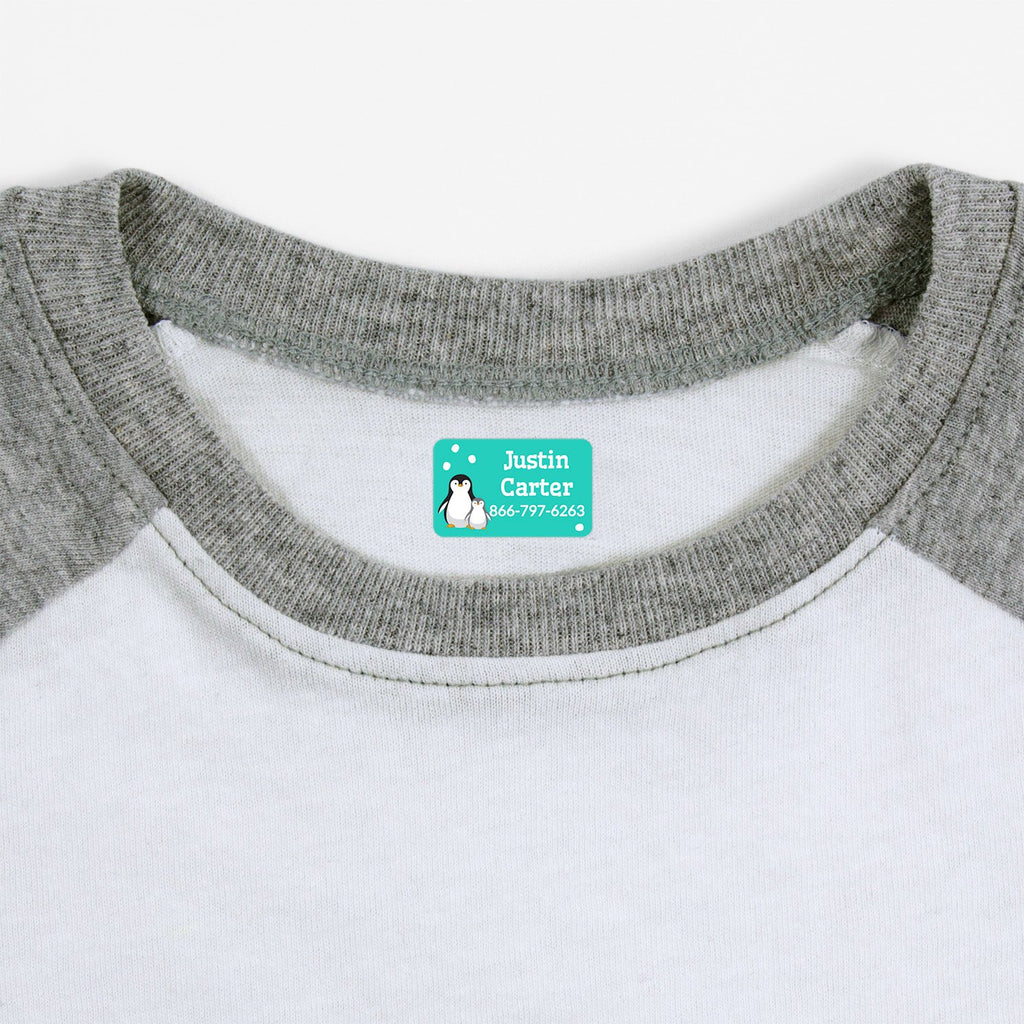 iron on safe clothing labels with a pair of penguins - _Penguins_Aqua / Rectangle