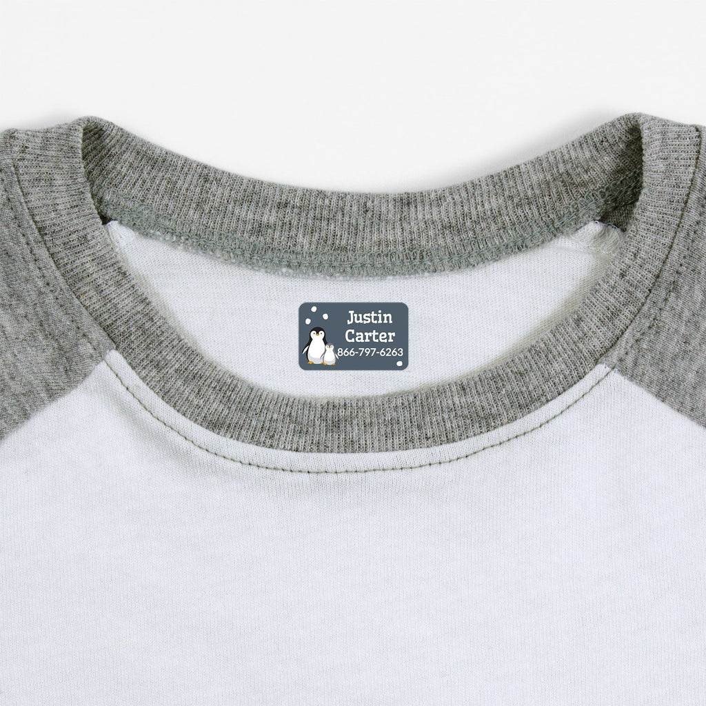 iron on safe clothing labels with a pair of penguins - _Penguins_Blue Gray / Rectangle