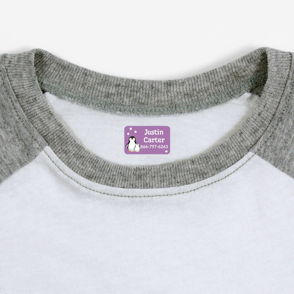iron on safe clothing labels with a pair of penguins - _Penguins_Lavender / Rectangle