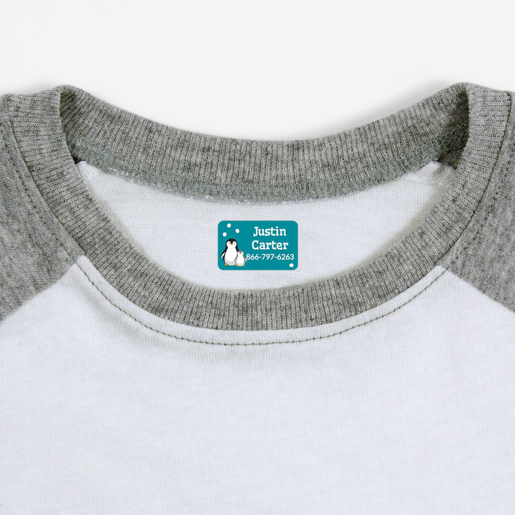 iron on safe clothing labels with a pair of penguins - _Penguins_Teal / Rectangle