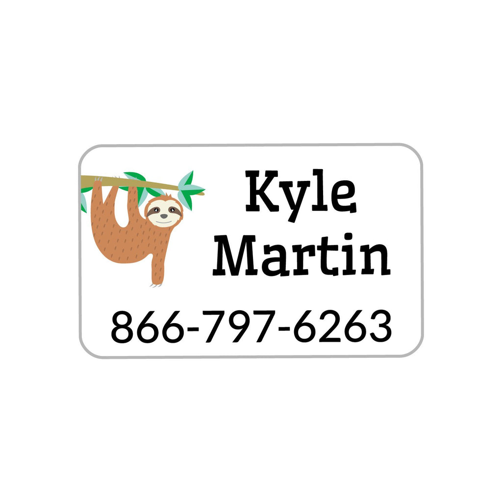 personalized kids labels with soth hanging off tree branch design - kids iron-on labels with sloth hanging from tree branch design