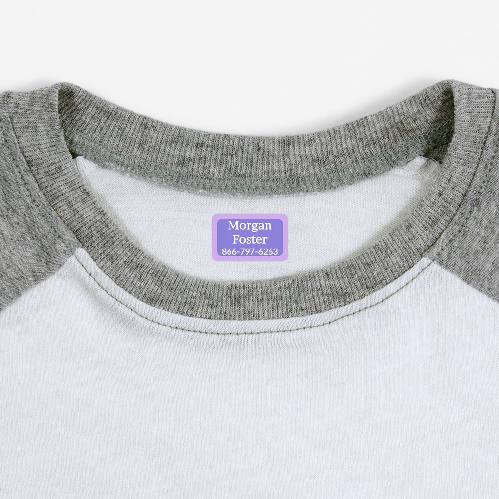 iron on name tags - Violet - Lavender - White / Rectangle