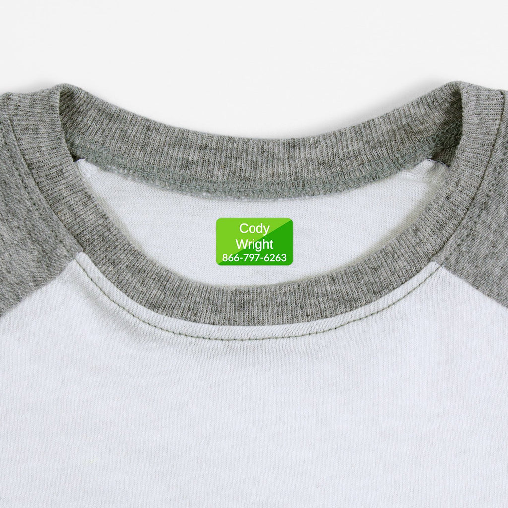 personalized kids iron-on labels - _Split_Green / Rectangle