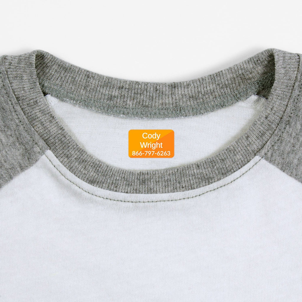 personalized kids iron-on labels - _Split_Orange / Rectangle