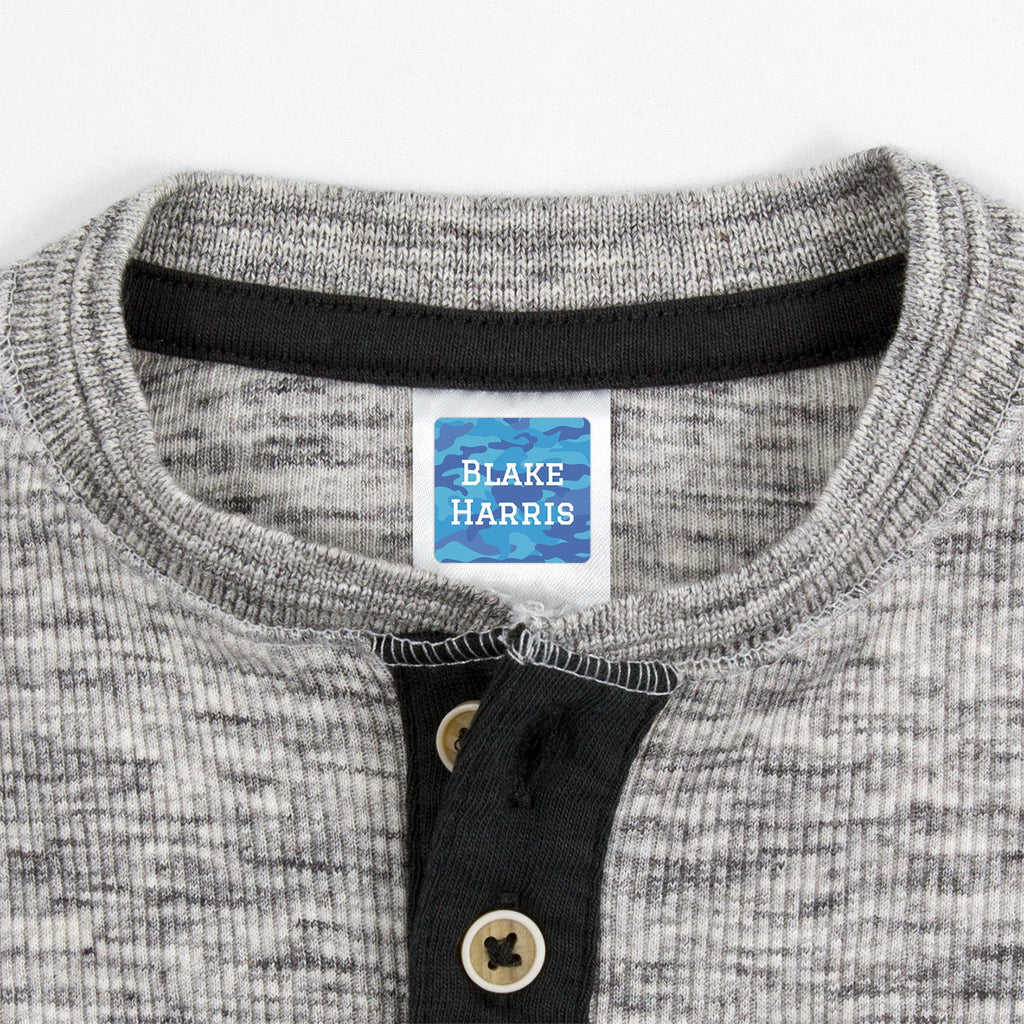 personalized waterproof clothing labels - _Camo_Blue / Square