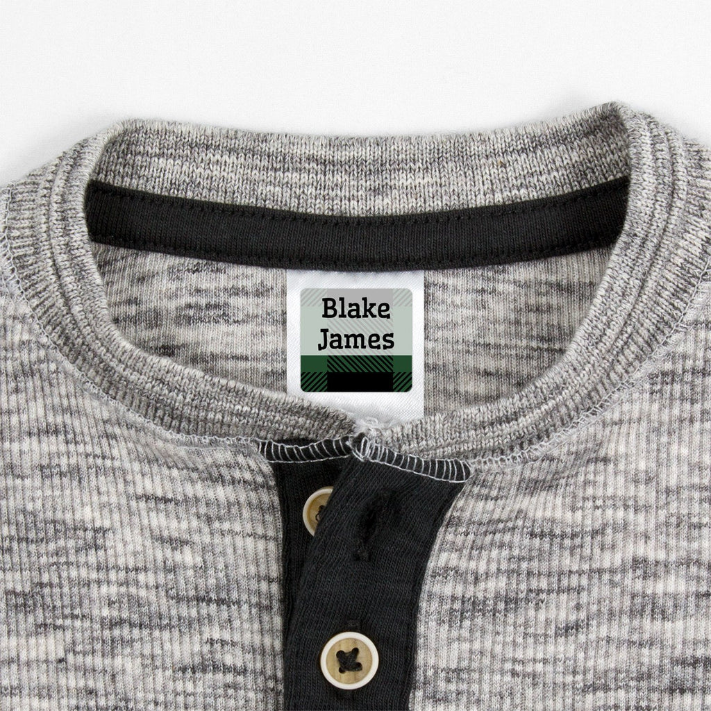 small clothing labels with plaid design - _Flannel_Green / Square
