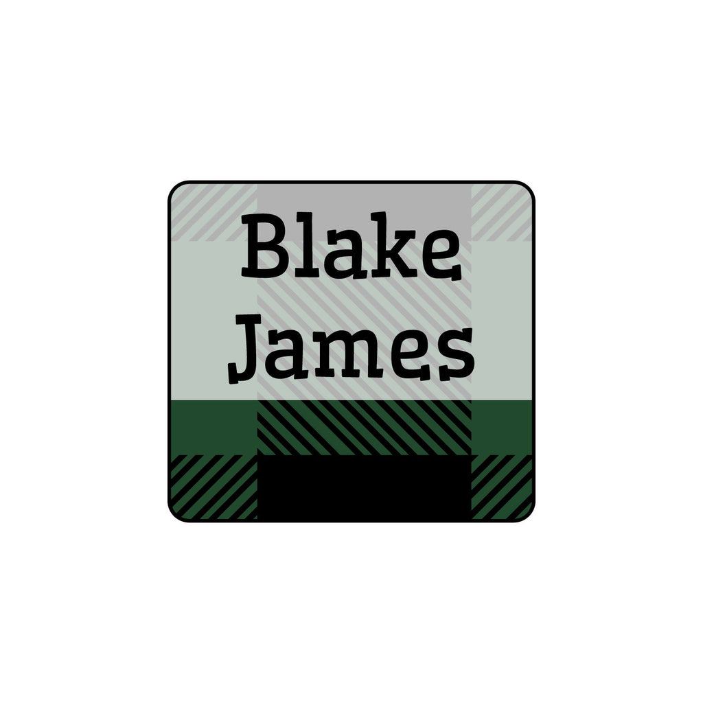 small laundry safe labels with plaid design