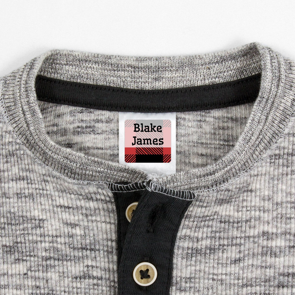 small clothing labels with plaid design - _Flannel_Red / Square
