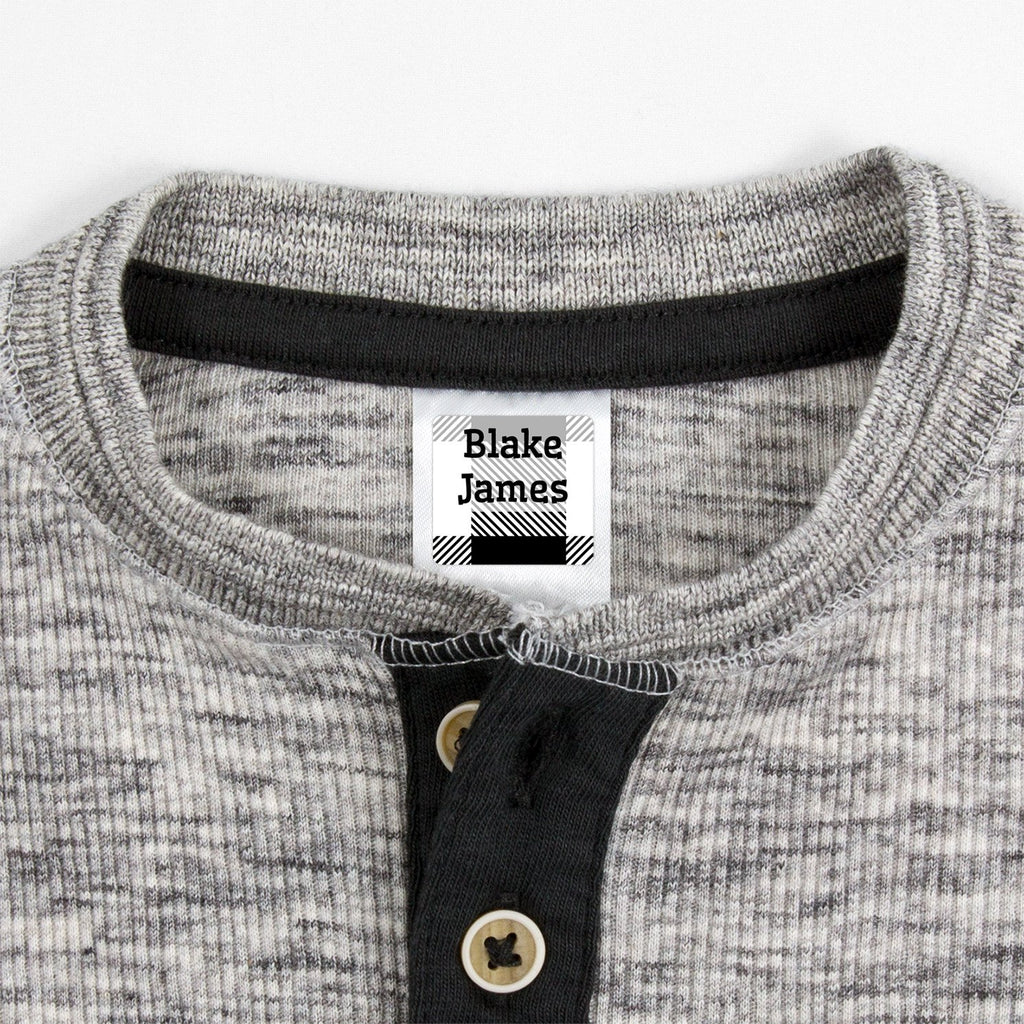 small clothing labels with plaid design - _Flannel_White / Square