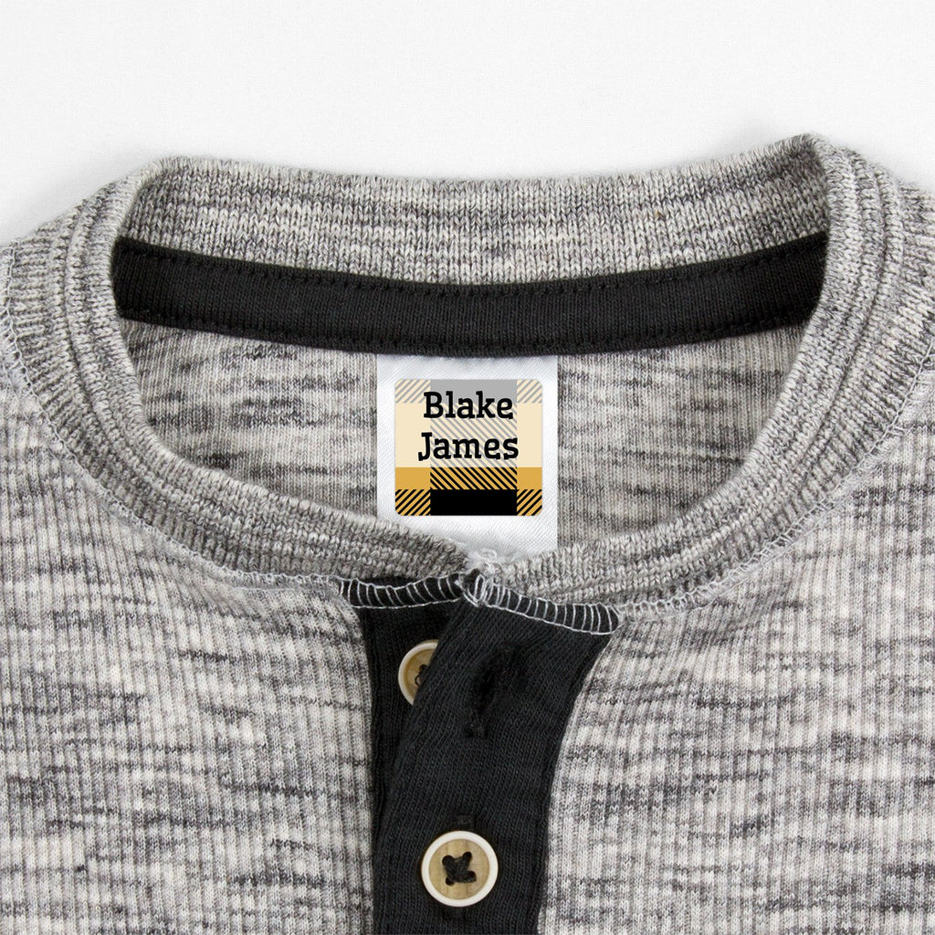 small clothing labels with plaid design - _Flannel_Yellow / Square