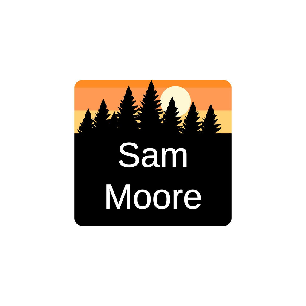 small laundry safe labels with forest silhouette and sky design