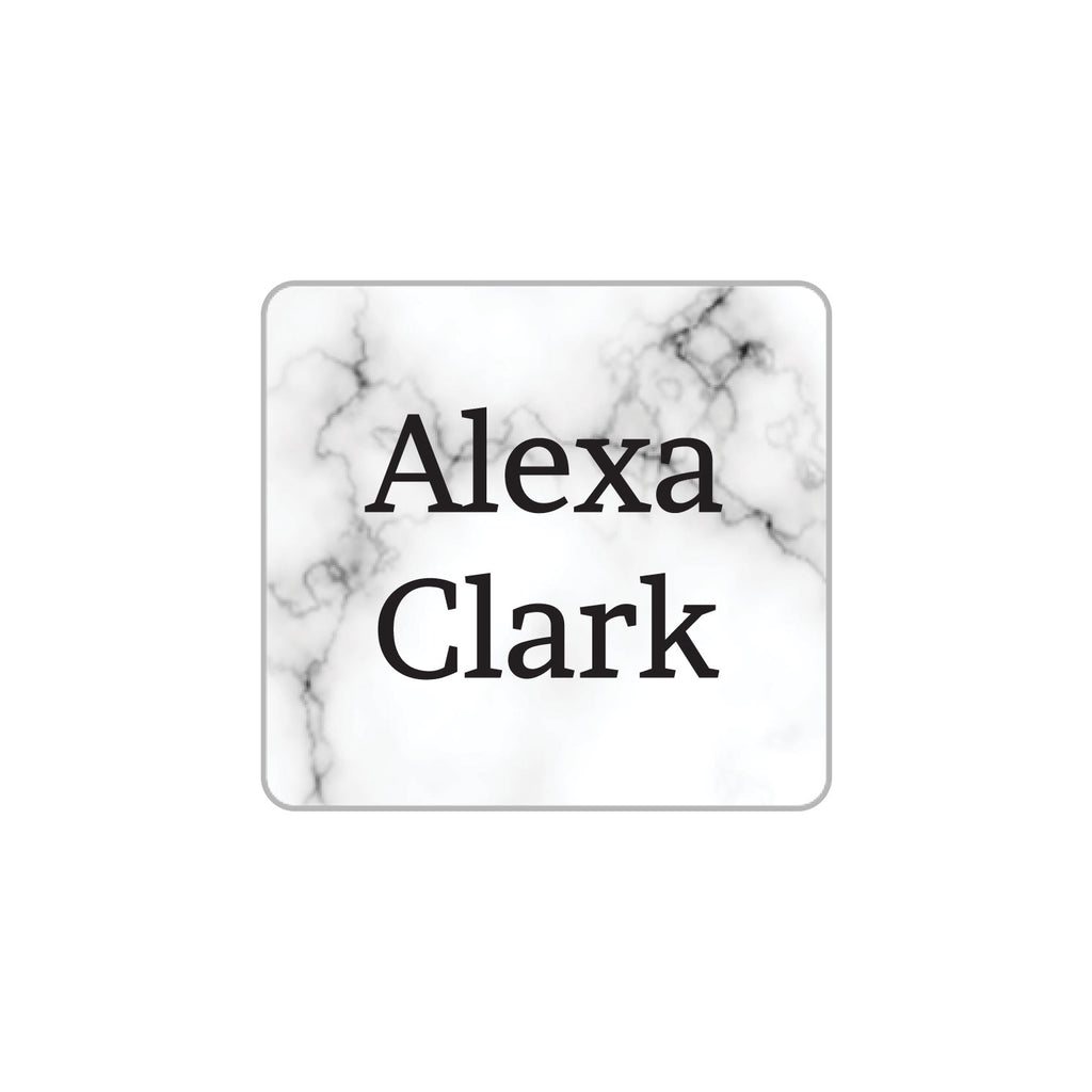waterproof name stickers with white marble background