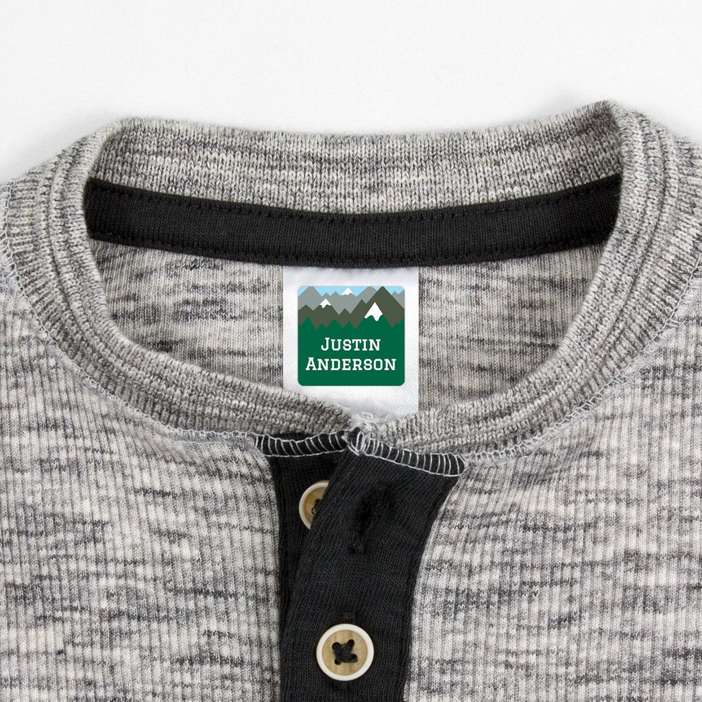 personalized kids clothing labels - _Mountain Top_Green / Square