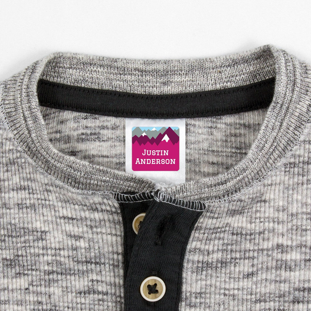 personalized kids clothing labels - _Mountain Top_Pink / Square