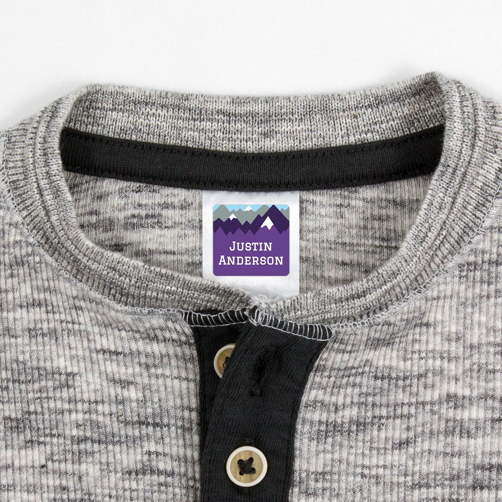 personalized kids clothing labels - _Mountain Top_Purple / Square
