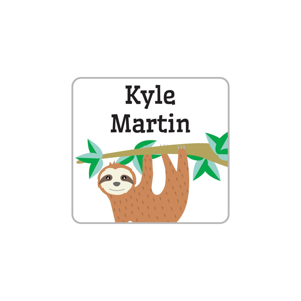 laundry safe clothing labels with sloth hanging from tree branch design