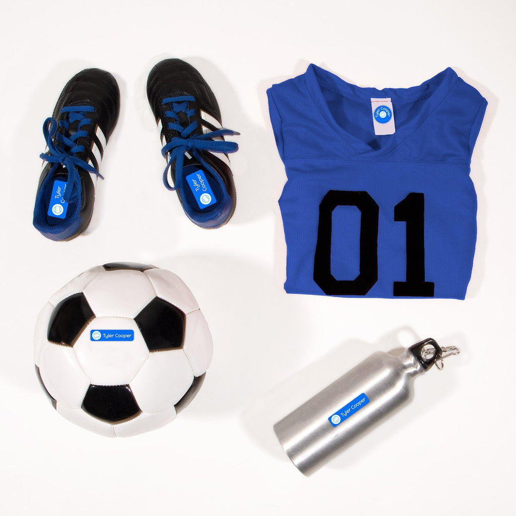 kids name labels for sports - Beluga Blue