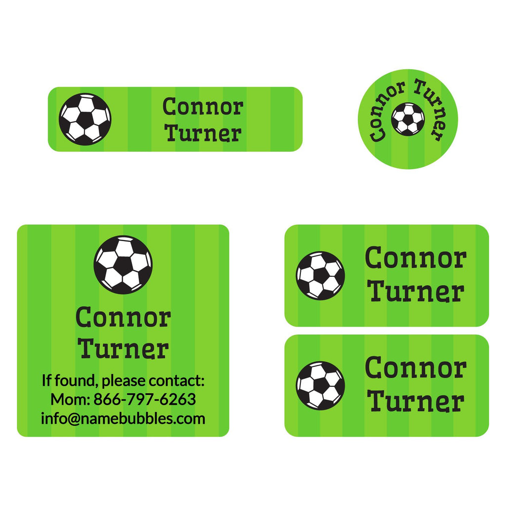 a mix of dishwaster and laundry safe labels featuring a soccerball on a striped green background