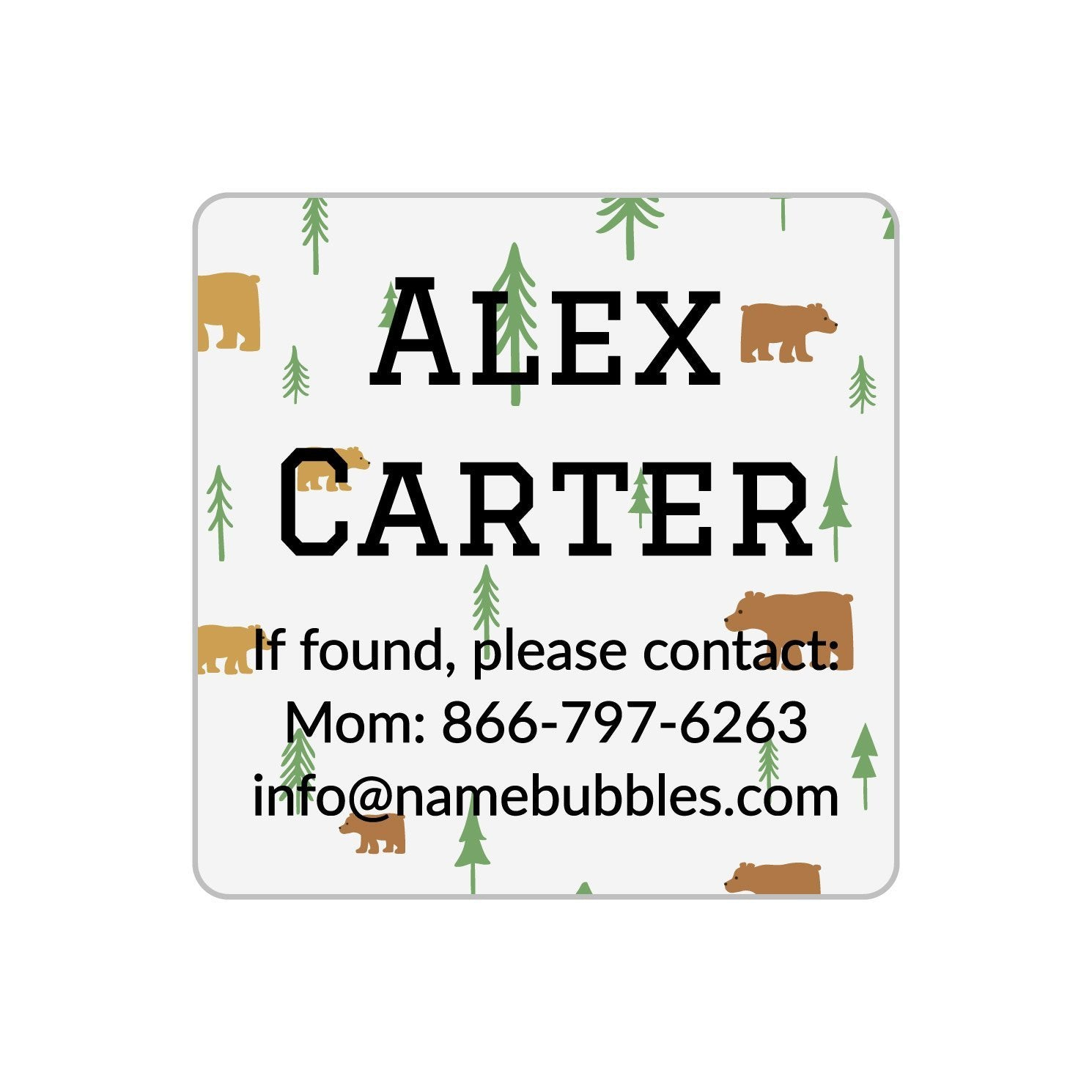 camp labels with bear design