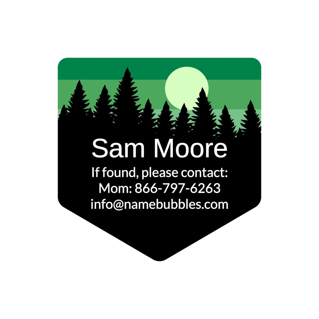 dishwasher safe information labels with forest silhouette and sky design
