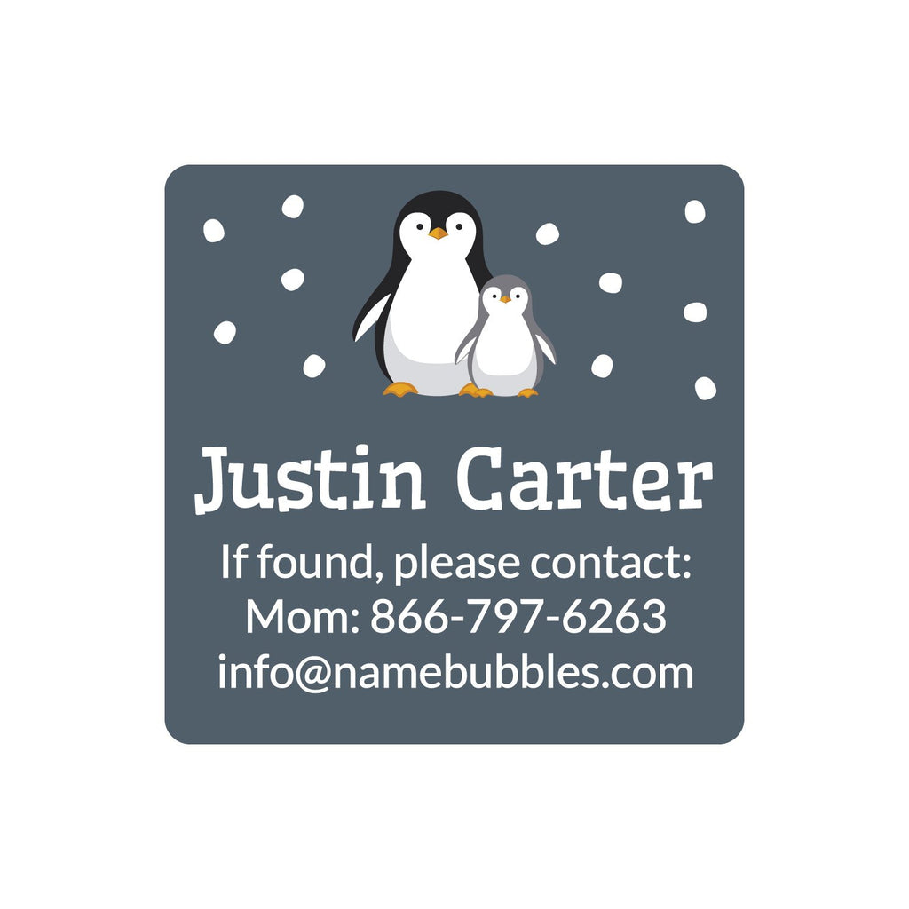 dishwasher safe square contact labels with a pair of penguins