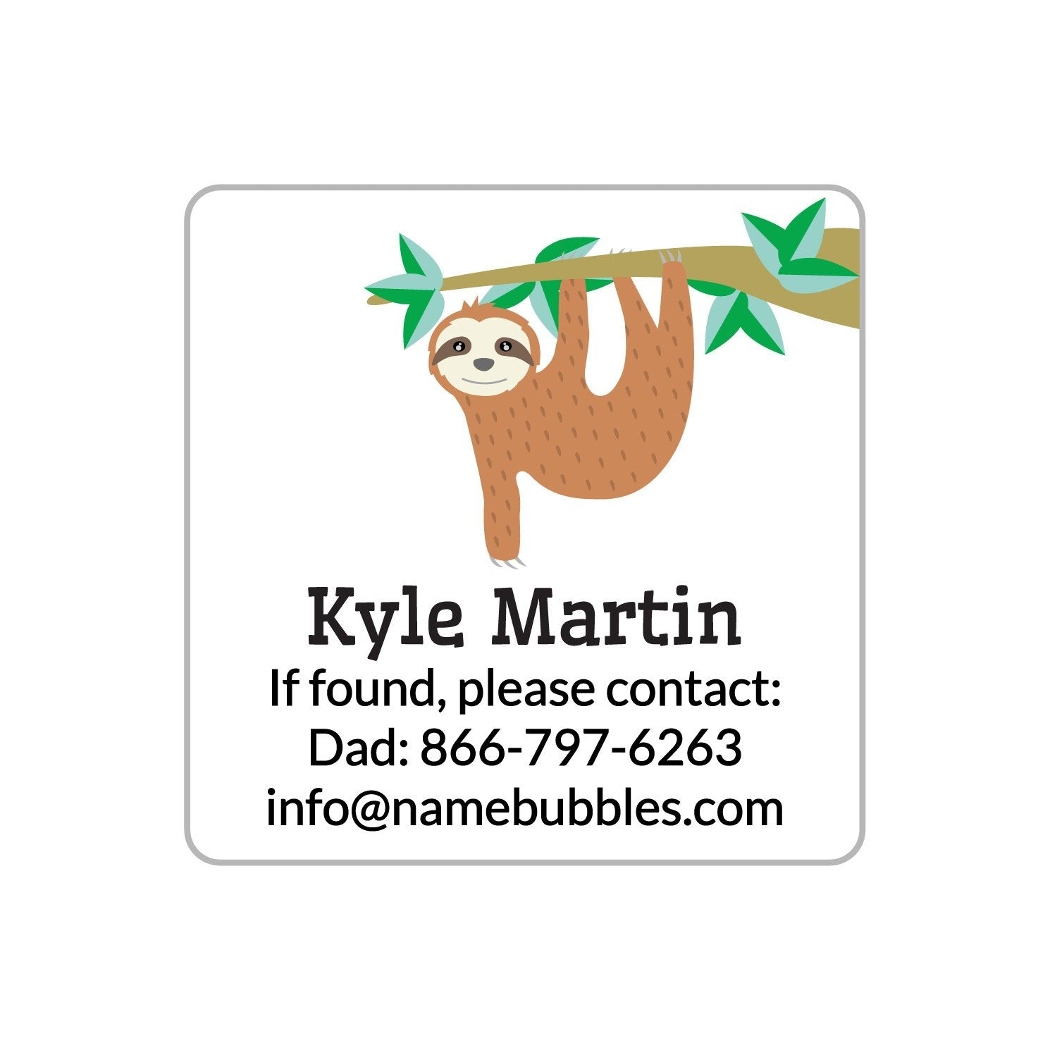information stickers with sloth hanging from tree branch design