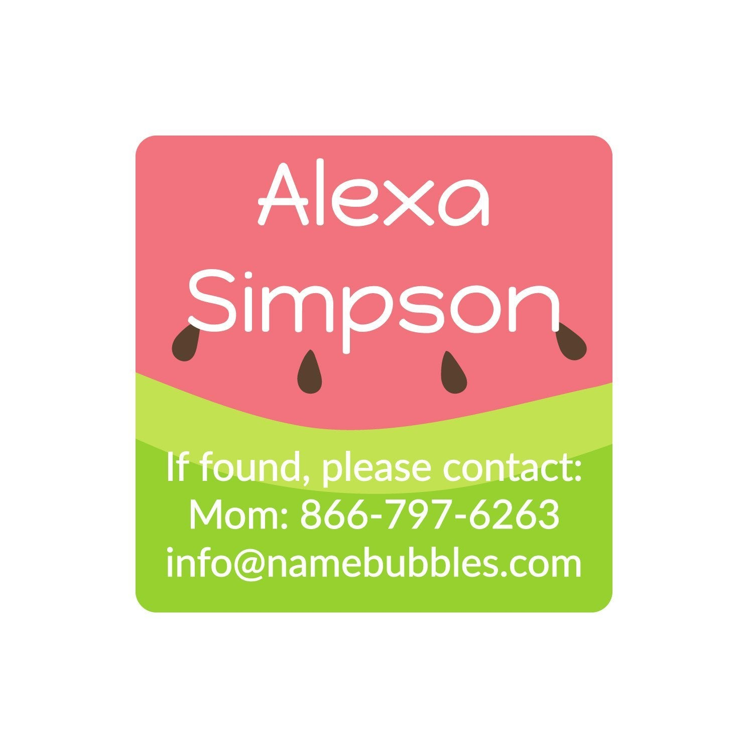 kids watermelon name stickers
