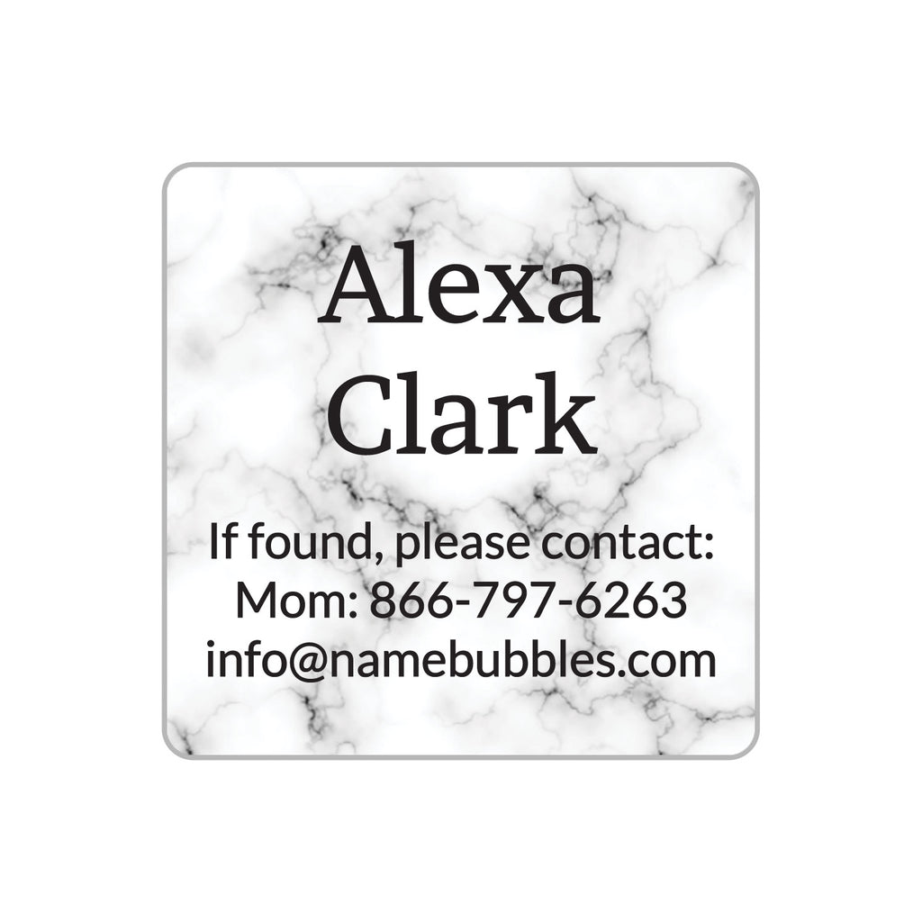 dishwasher safe information labels with white marble background