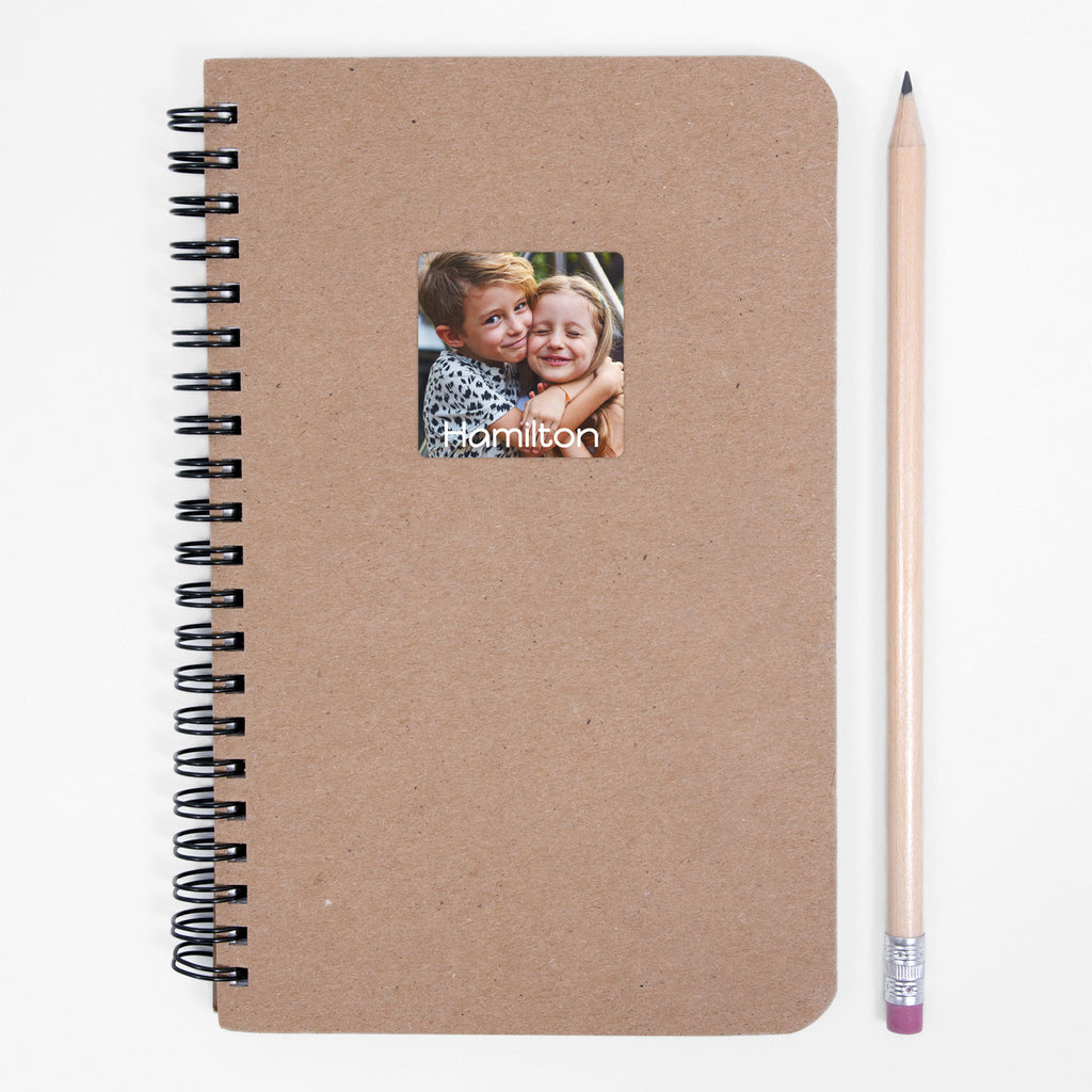 waterproof custom photo labels on notebook - Square