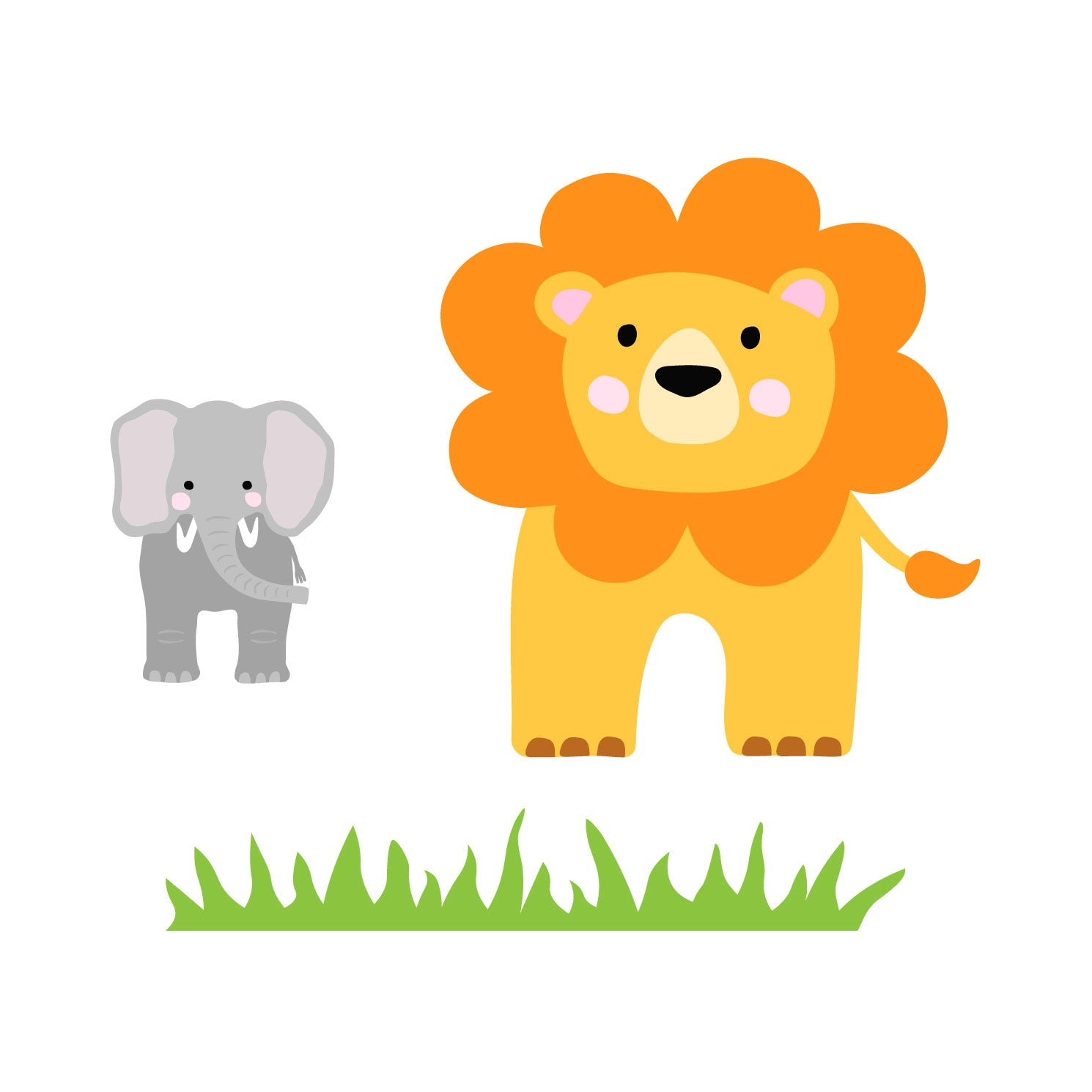 lion and elephant waterproof stickers