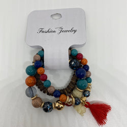 Beaded Bracelets / Wood Beaded Lucky Charm Bracelet - Christopher Stephens Hair Salon West Palm Beach