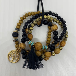 Beaded Bracelets / Wood Bead Lucky Charm Bracelet - Christopher Stephens Hair Salon West Palm Beach