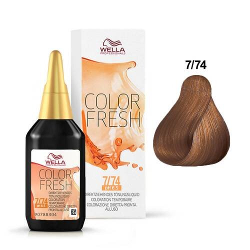 WELLA COLOR FRESH 7/74 MEDIUM BLONDE / BROWN RED - Christopher Stephens Hair Salon West Palm Beach