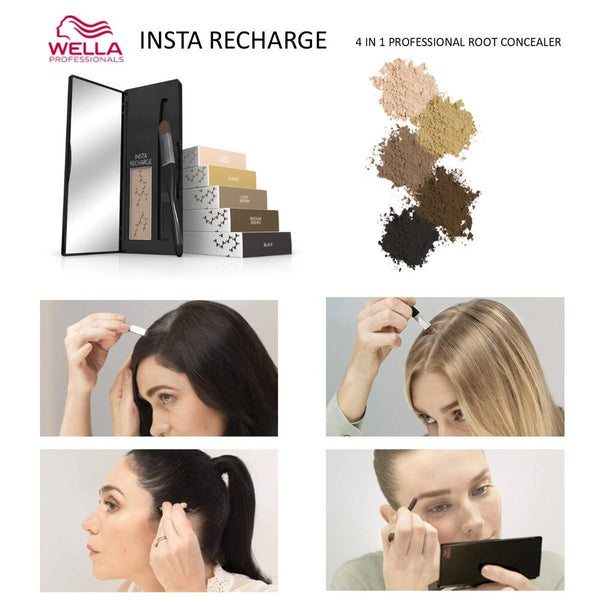 WELLA INSTA RECHARGE ROOT POWDER CONCEALER - Medium Brown - Christopher Stephens Hair Salon West Palm Beach