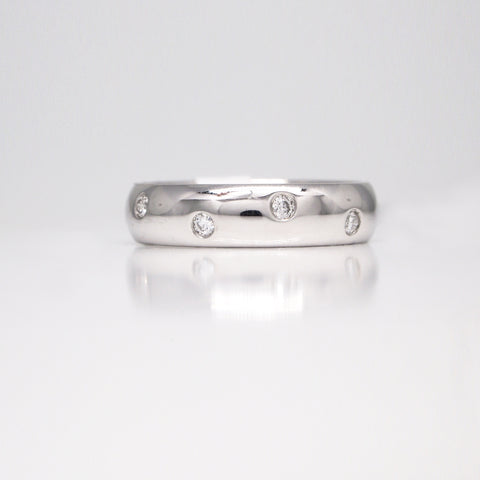 flush set diamond wedding band