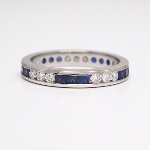 sapphire diamond channel eternity band