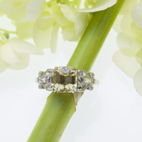 vintage style yellow diamond engagement ring