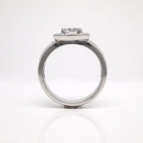 custom diamond engagement ring low to finger