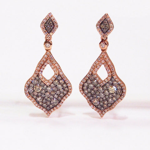 micro-pave set rose gold diamond earrings
